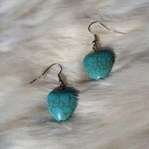 NWT Medium Heart Turquoise Earrings
